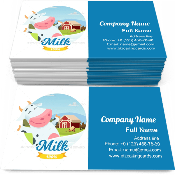 Sample of Fresh Farm Milk calling card design for advertisements marketing ideas and promote 100% Milk branding identity