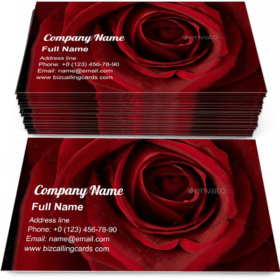 Fresh red rose Business Card Template