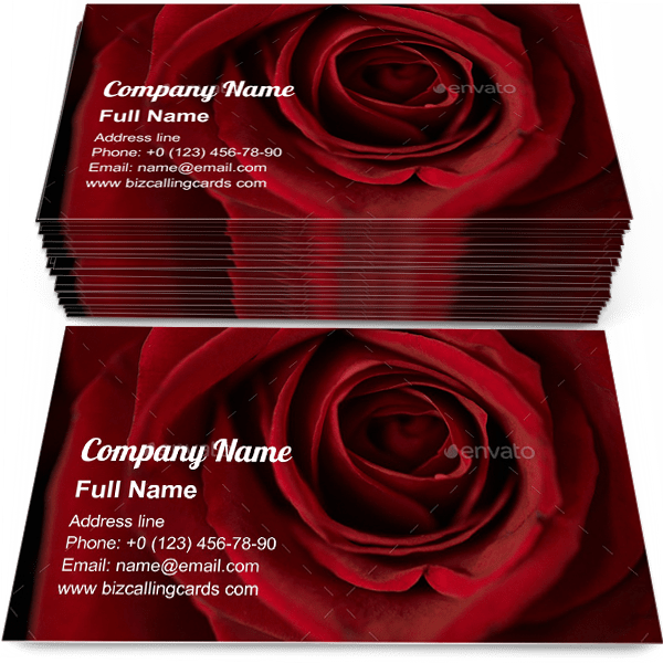 Sample of Fresh red rose calling card design for advertisements marketing ideas and promote bouquet delivery branding identity