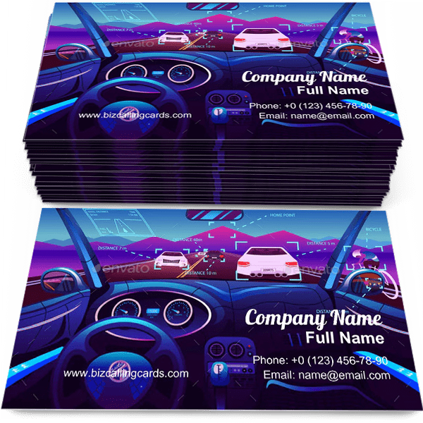Sample of Futuristic Vehicle Salon business card design for advertisements marketing ideas and promote Electric Smart Car branding identity