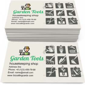 Garden Tools Icons Set Business Card Template