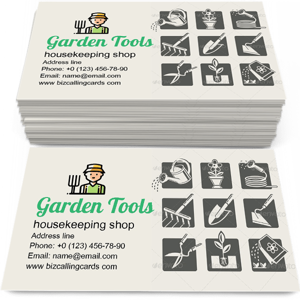 Sample of Garden Tools Icons Set calling card design for advertisements marketing ideas and promote housekeeping shop branding identity