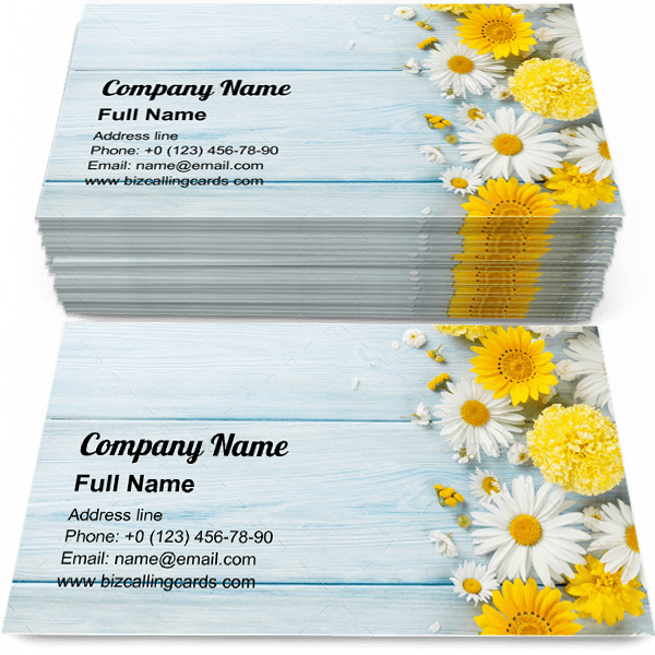Garden flowers on table Business Card Template