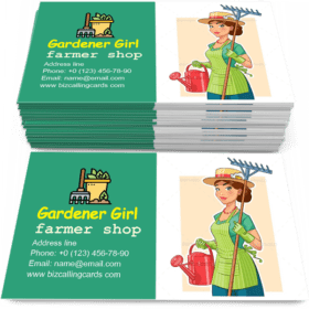 Gardener Girl with Rake Business Card Template