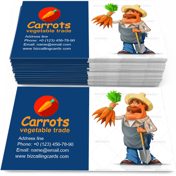 Sample of Gardener with Carrots calling card design for advertisements marketing ideas and promote garden vegetable trade branding identity