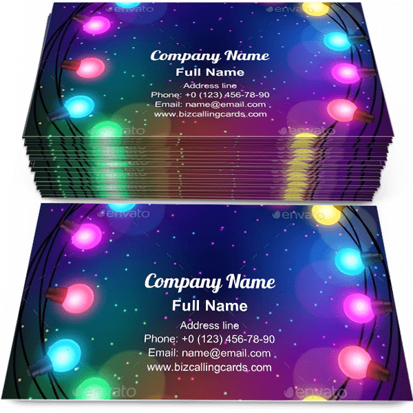 Sample of Garland Of Bulbs business card design for advertisements marketing ideas and promote new year branding identity