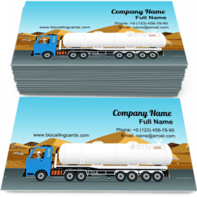 Gas Truck in road Business Card Template