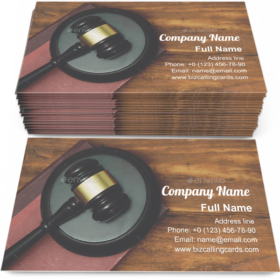 Gavel and law book Business Card Template