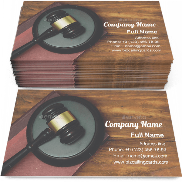 Sample of Gavel and law book calling card design for advertisements marketing ideas and promote legislation branding identity