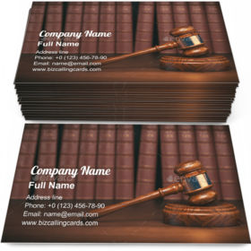 Gavel on vintage books Business Card Template