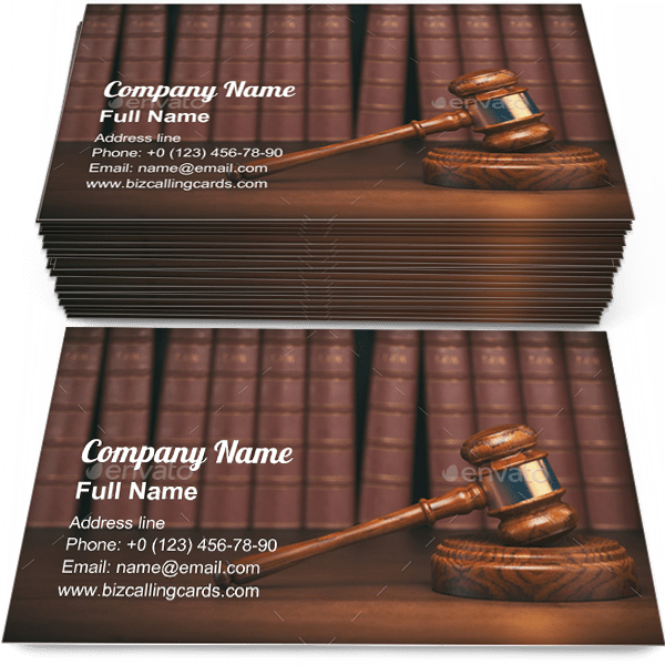 Sample of Gavel on vintage books calling card design for advertisements marketing ideas and promote law and justice branding identity