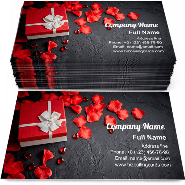 Gift box on black stone Business Card Template