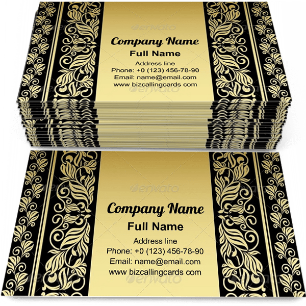 Gilded Floral Elements Business Card Template