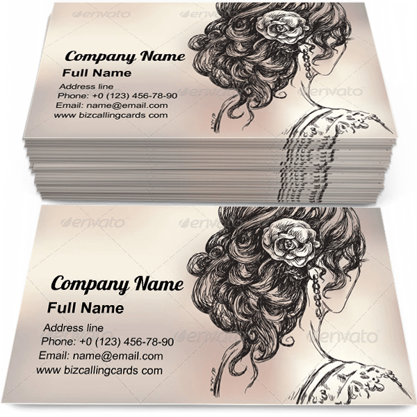 Editable Girl Bridal Hairstyle Business Card Template