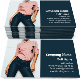 Girl in a pink shirt Business Card Template