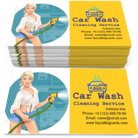 Girl on Car Wash Cleaning Service Business Card Template