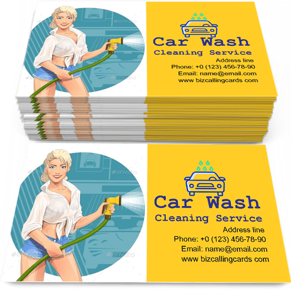 Sample of Girl on Car Wash Cleaning Service calling card design for advertisements marketing ideas and promote Car washing qualification branding identity