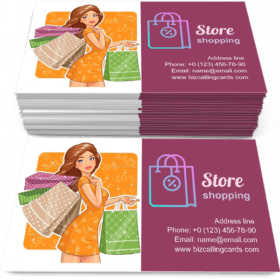 Girl with Packages Business Card Template