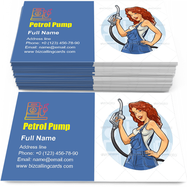 Sample of Girl with Petrol Pump calling card design for advertisements marketing ideas and promote gas station branding identity