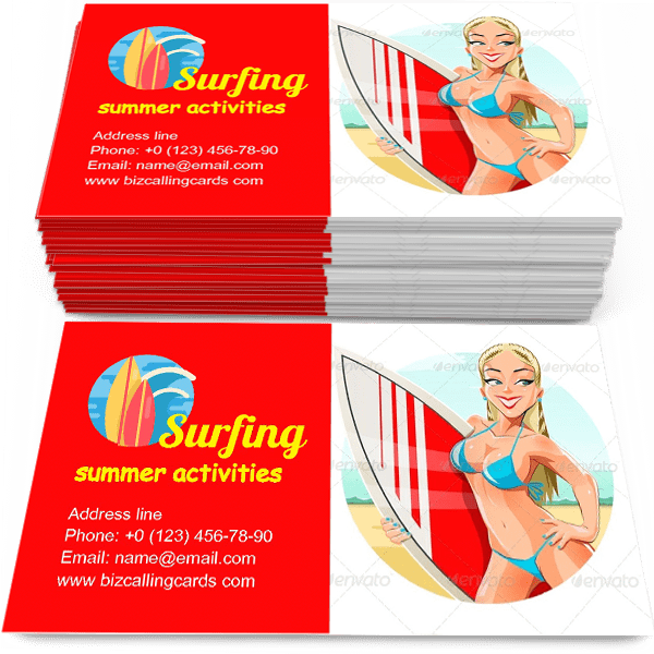 Sample of Girl with Surfing Board calling card design for advertisements marketing ideas and promote summer activities branding identity