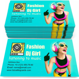 Glamorous fashion dj girl Business Card Template