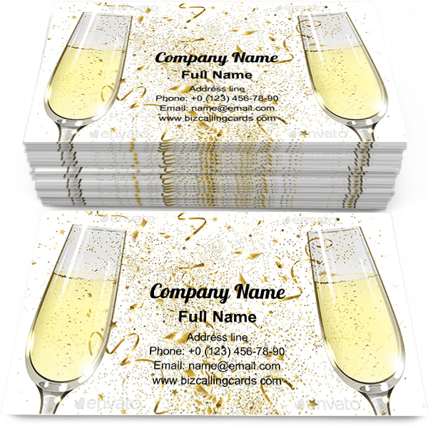 Sample of Glasses of Champagne calling card design for advertisements marketing ideas and promote celebrations agency branding identity
