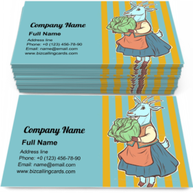 Goat with Cabbage Business Card Template