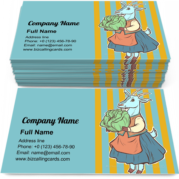 Sample of Goat with Cabbage business card design for advertisements marketing ideas and promote vegetable garden branding identity