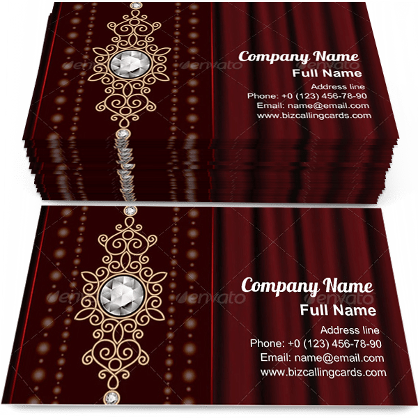 Create Online Gold Jewelry On Drape Business Card Template