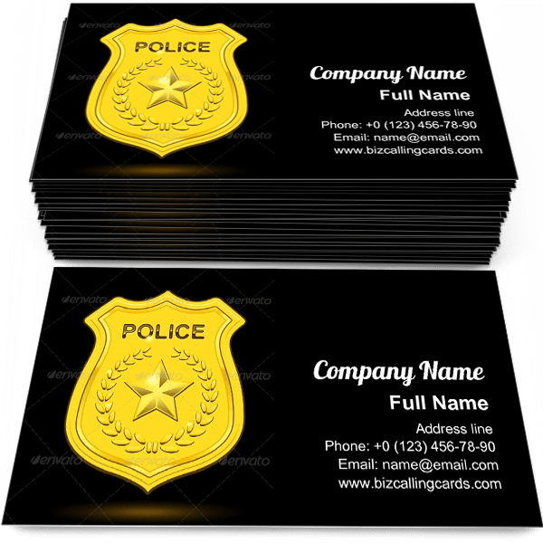 Free Gold Police Badge Business Card Template Maker
