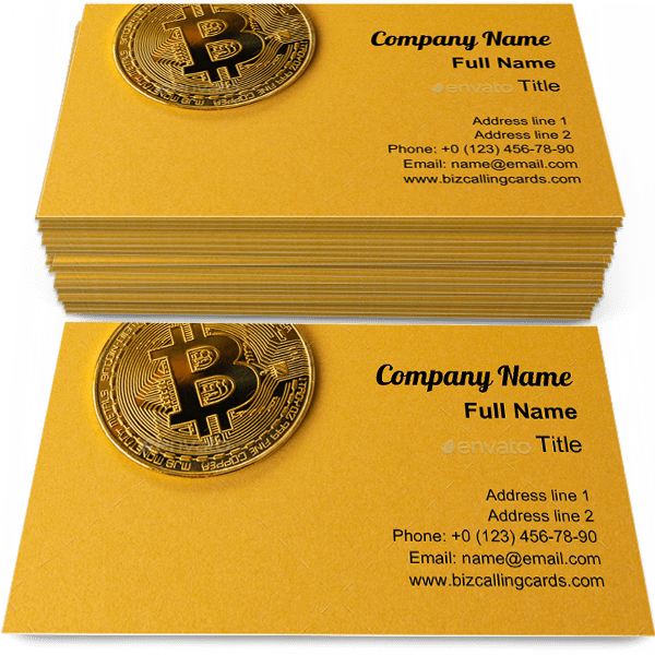 Sample of Gold bitcoin cryptocurrency business card design for advertisements marketing ideas and promote blockchain branding identity