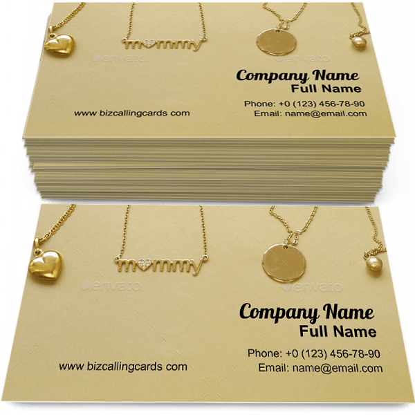 Create Online Gold Chains Necklaces Business Card Template