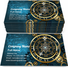 Golden Clock on Turquoise Business Card Template