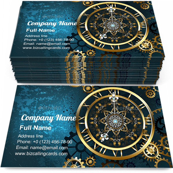 Sample of Golden Clock on Turquoise business card design for advertisements marketing ideas and promote Steampunk branding identity