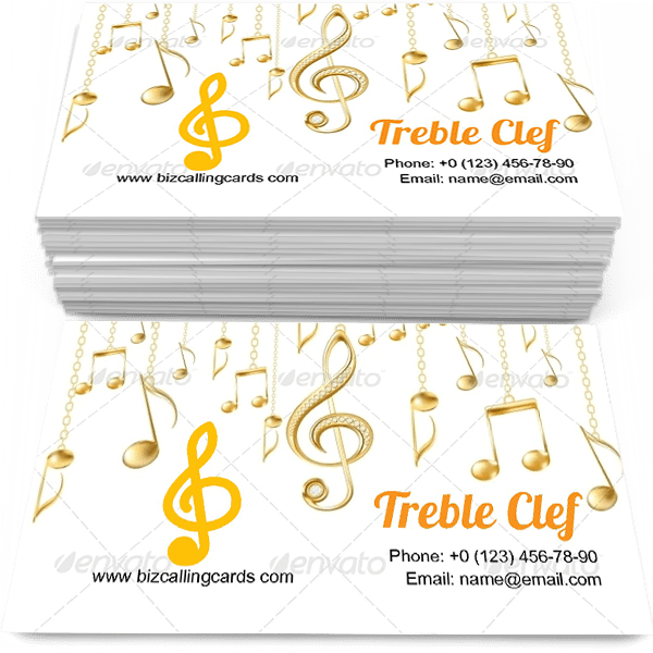 Golden Treble Clef Business Card Template