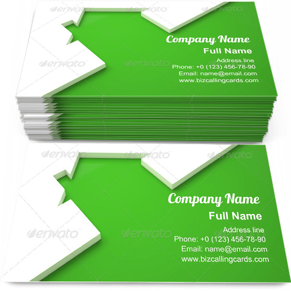 Sample of Green Ecologic home calling card design for advertisements marketing ideas and promote Environmental Conservation branding identity