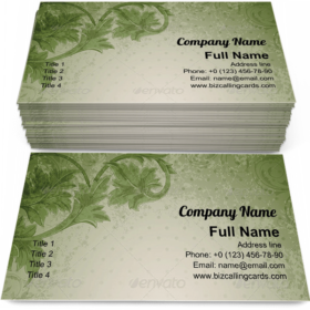 Green floral ornament Business Card Template