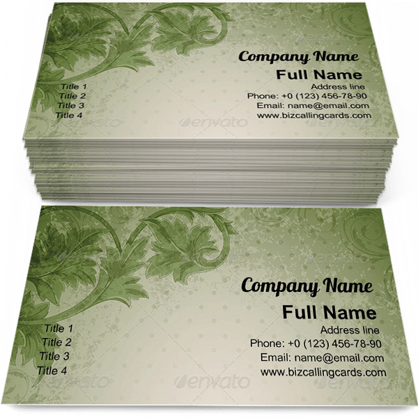 Sample of Green floral ornament business card design for advertisements marketing ideas and promote vintage branding identity