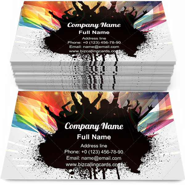 Sample of Grunge disco Party business card design for advertisements marketing ideas and promote dancing branding identity
