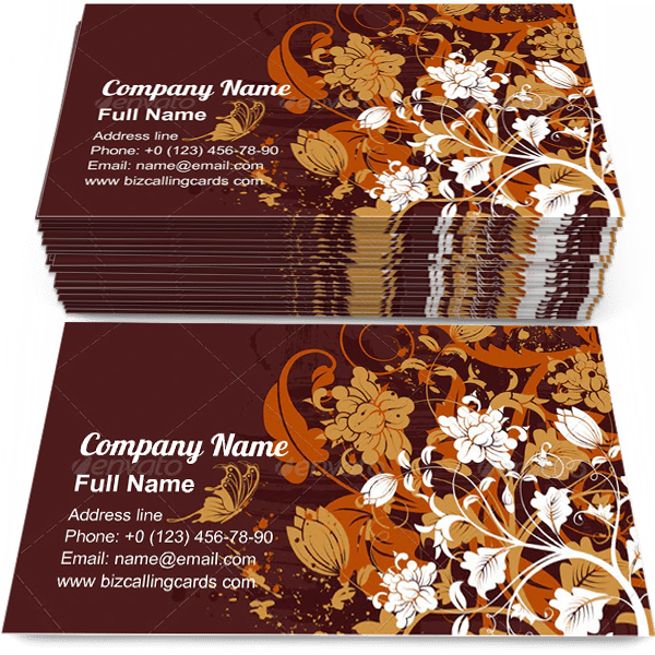 Grunge floral with butterfly Business Card Template