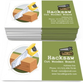 Hacksaw Cut Wooden Board Business Card Template