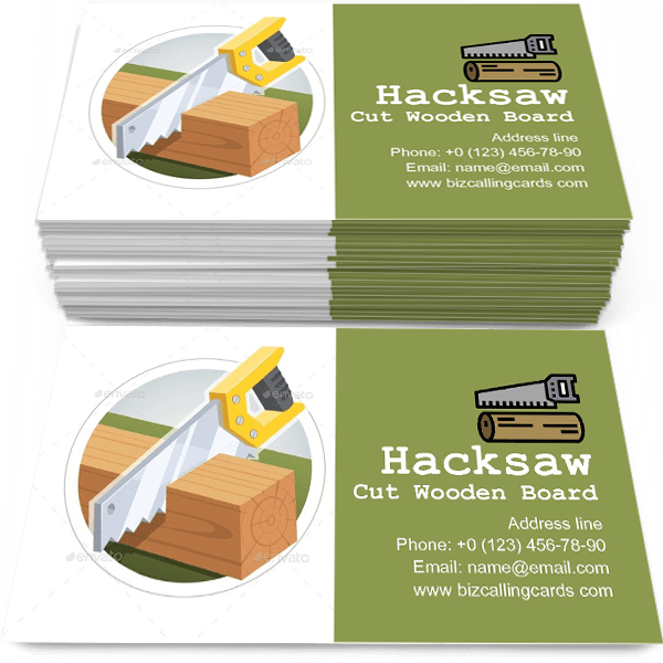 Sample of Hacksaw Cut Wooden Board calling card design for advertisements marketing ideas and promote instrument store branding identity