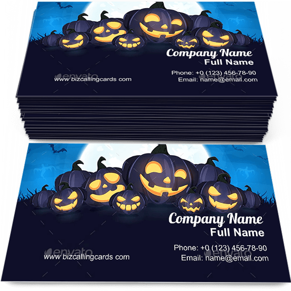 Sample of Halloween Pumpkins business card design for advertisements marketing ideas and promote Halloween branding identity