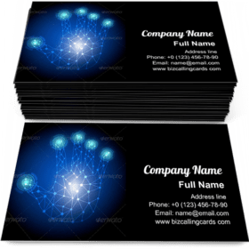 Hand Touchscreen Technology Business Card Template