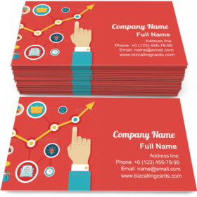 Hand and Icons Business Card Template