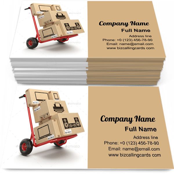 Sample of Hand truck and cardboard boxes business card design for advertisements marketing ideas and promote computer technics branding identity