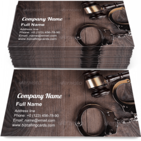 Handcuffs And Judge Gavel Business Card Template
