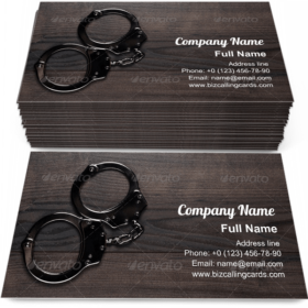 Handcuffs on Wooden Table Business Card Template