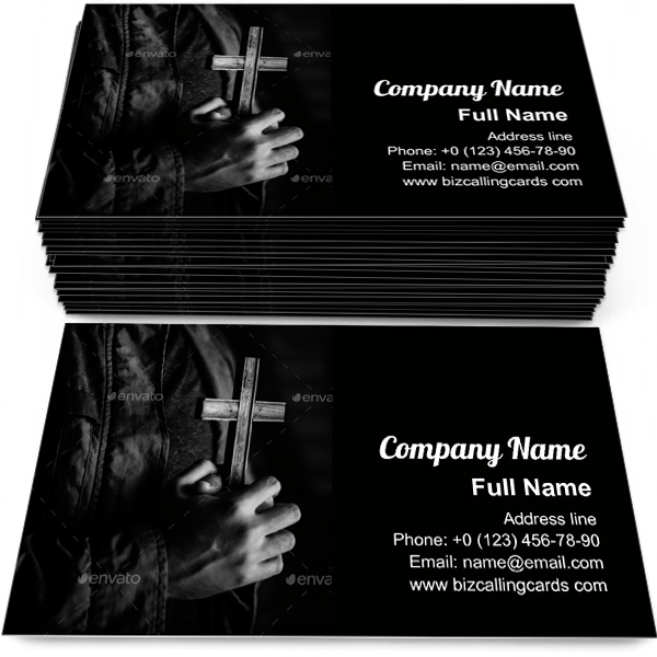Sample of Hands Holding Cross calling card design for advertisements marketing ideas and promote Religion branding identity