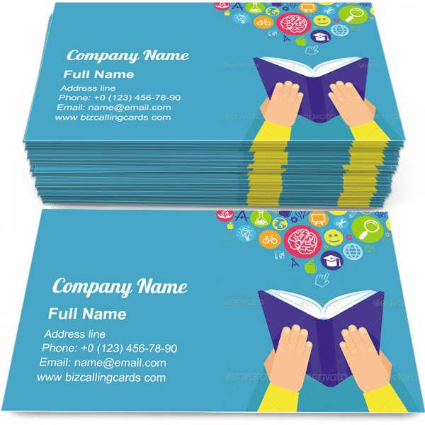 Hands holding book Business Card Template